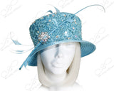 Small Brim Hat With Premium Lace Coque - Turquoise Blue