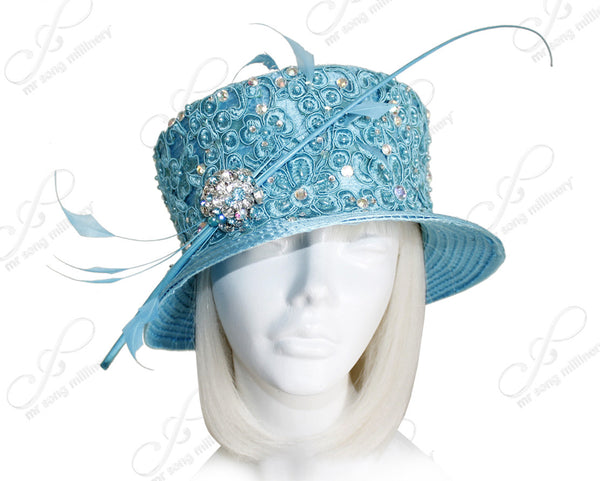 Mr. Song Millinery Small Brim Hat With Premium Lace Coque - Turquoise Blue