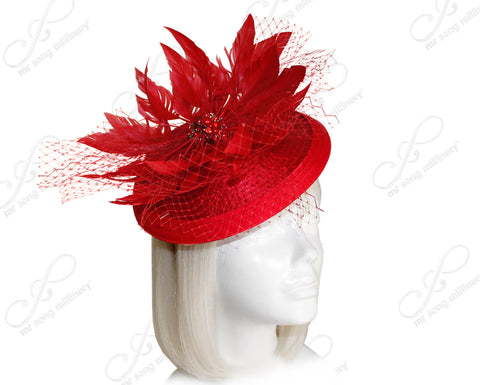 Petite Profile Dish Veil Fascinator Headband - Red