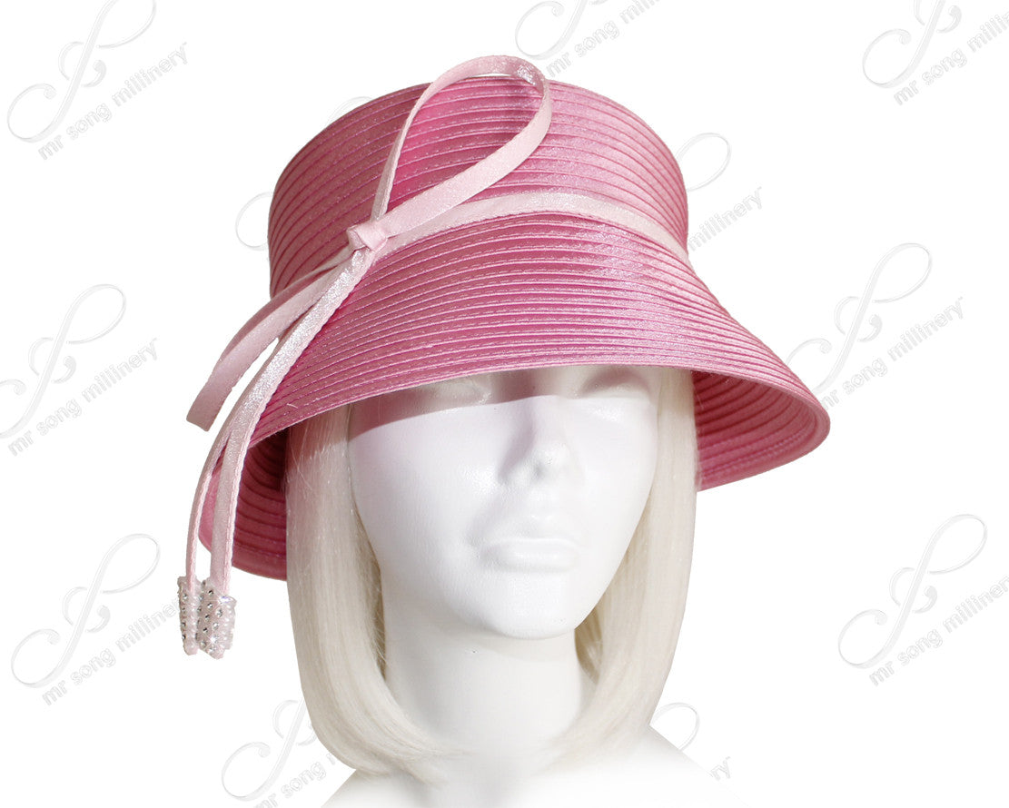 Mr. Song Millinery Medium Brim Hat With Tasseled Rhinestone Accent - Pink