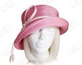 Medium Brim Hat With Tasseled Rhinestone Accent - Pink
