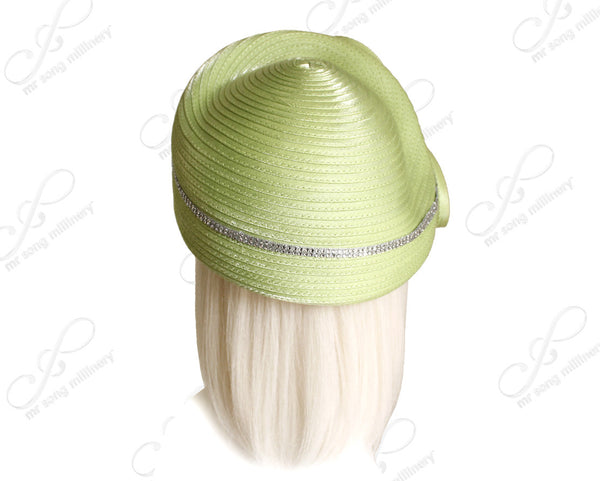 Mr. Song Millinery Structured Beret Cloche Hat Wtih Rhinstoned Loop Accents- 3 COLORS