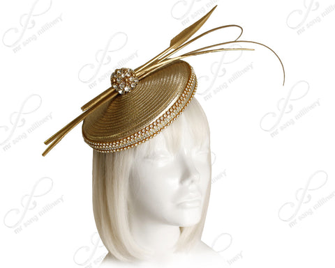 Profile Dish Beanie Fascinator Headband - Aurum Gold