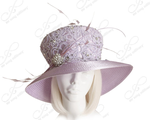 Wide Brim Flared Crown Hat With Lace - Lavender