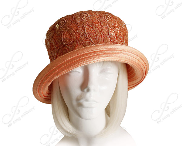 Mr. Song Millinery Satin-Crin Medium Brim Hat With Lace - Mango Orange