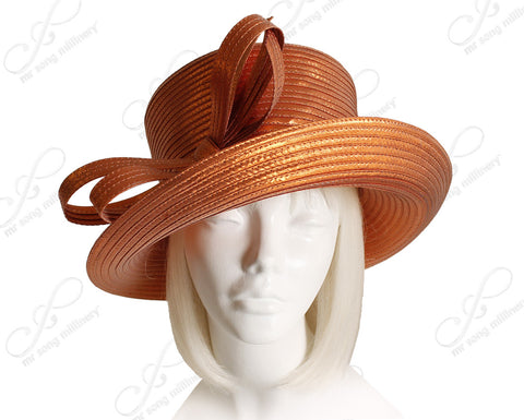 Mr. Song Millinery Medium Turn-Up Brim Hat With Double Knot Bow - Shimmery Orange
