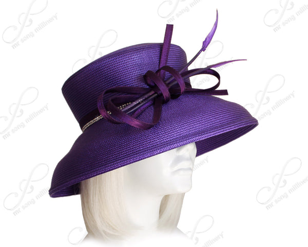 Mr. Song Millinery Tagline Tiffany Brim Hat With Loop Accent - Purple