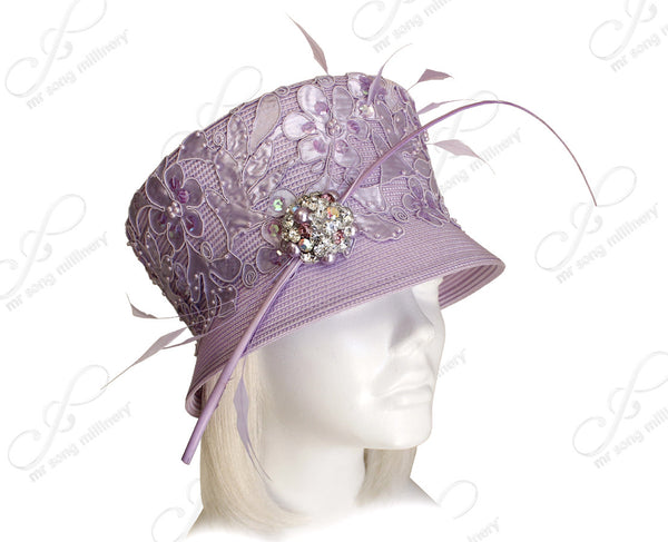 Mr. Song Millinery Tagline Slant-Crown Bucket Lace Cloche Hat - Lavender