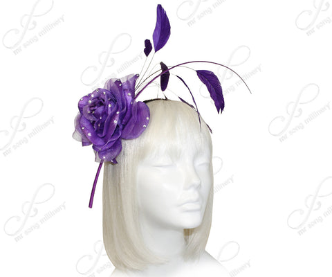 Organza Peony Fascinator Headband With Signature Accents - Purple