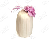 Organza Peony Fascinator Headband With Signature Accents - Pink