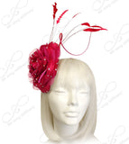 Organza Peony Fascinator Headband With Signature Accents - Red/Fuchsia Pink