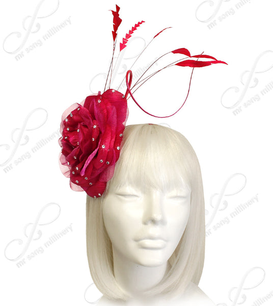 Mr. Song Millinery Organza Peony Fascinator Headband With Signature Accents - Red/Fuchsia Pink