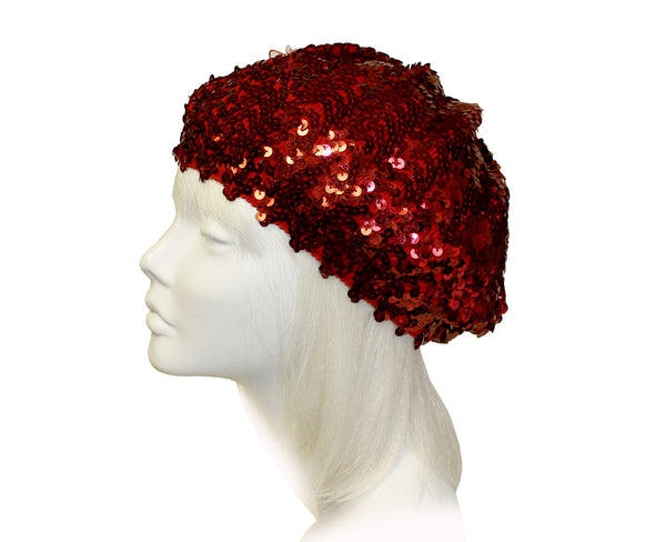 Mr. Song Millinery Glitter Sequin Tam Beret Beanie Cap - Red