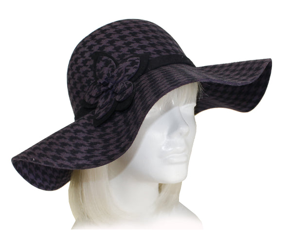 Mr. Song Millinery Houndstooth Felt Wide Brim Floppy Hat - 2 Colors