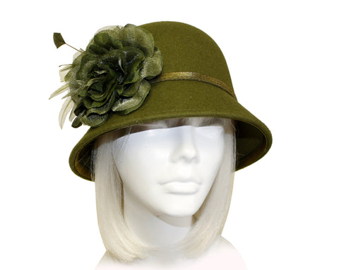 Softest Felt Bell Cloche Bucket Hat With Organza Flower - Olive Green