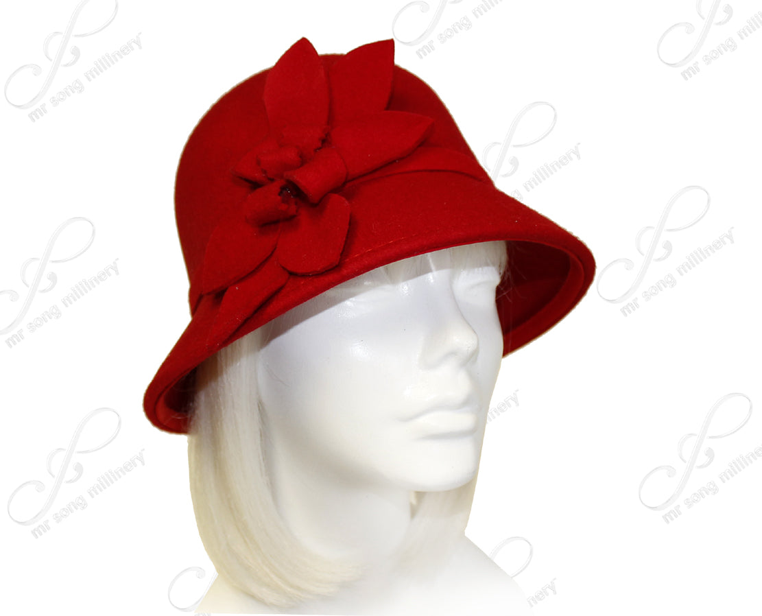 Mr. Song Millinery Softest Felt Bell Cloche Bucket Style Hat With Custom Accent - Red