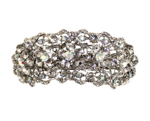 Mr. Song Millinery Rhinestone Hair Barrette Clip - Crystal Aurora Borealis