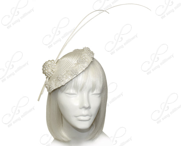 Mr. Song Millinery Profile Dish Beanie Fascinator Headband - Pearl