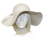Felt Wide Brim Floppy Hat - White