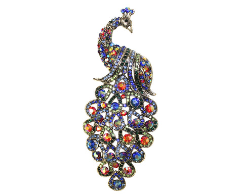 Crystal Rhinestone Peacock Bird Brooch Pin Pendant - Multi-Colour