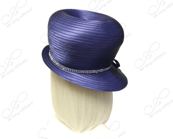 Mr. Song Millinery Bubble Cloche Hat With Rhinestone Drops - Purple