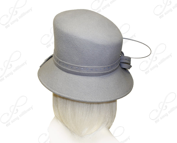 Mr. Song Millinery Luxuriously Soft Slant Crown Cloche Felt Hat With Brim - Assorted Colors