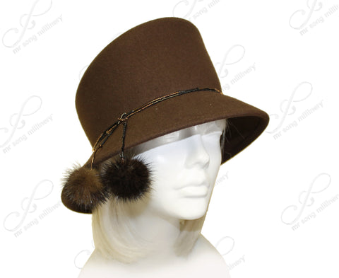 Soft-As-Cashmere Felt Bucket Cloche Hat - Camel Beige