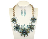 Starburst Flora Necklace Earrings Jewelry Set - Aqua