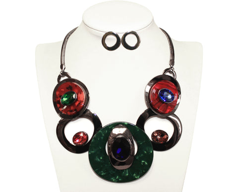 Art Deco Necklace And Earrings Jewelry Set - Multicolour