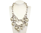 Chunky Chain Necklace - Pearl/Silver