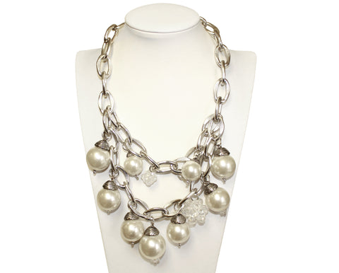 Mr. Song Millinery Chunky Chain Necklace - Pearl/Silver