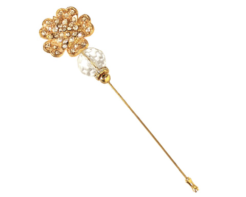 Crystal Flora Rhinestone Brooch Hat Pin - Gold/Crystal
