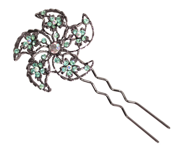 Mr. Song Millinery Rhinestone Hair Comb - Aqua Green