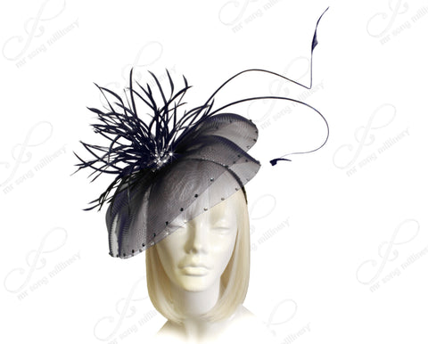 All-Season Crin Fascinator Headpiece - Navy Blue