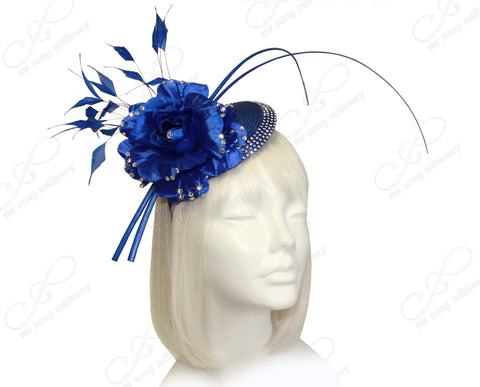 Profile Dish Beanie Fascinator Headband - Sapphire Blue