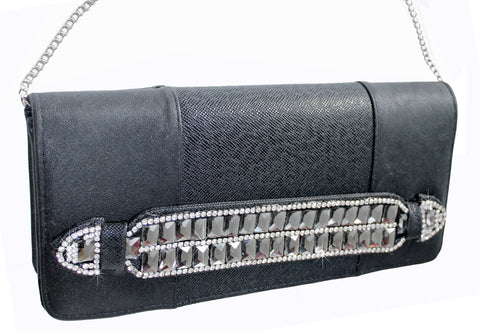 Mr. Song Millinery Rhinestone-Studded Baguette Clutch Handbag Purse - Black