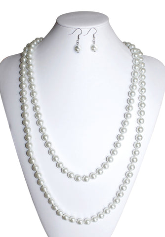 Pearl Bead Necklace With Matching Earrings - 2 Colors