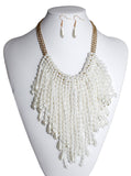 Pearl Bib Necklace On Gold-Tone Chain + Matching Earrings