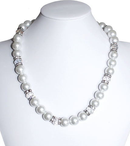 Pearl Bead Necklace With Crystal Rhinestone Accents