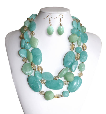 Beaded Multi-Layer Necklace & Earrings - 2 Colors