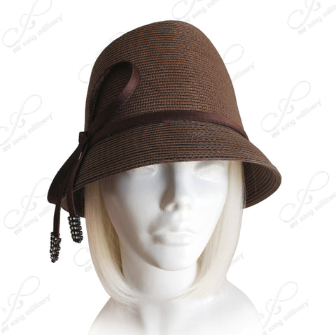 Tagline-Straw Fedora Style Bucket Cloche Hat With Knot-Bow - Brown