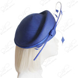 Straw-Tagline Structured Beret Cloche Hat With Feather Accent - 4 Colors