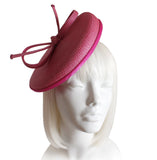 Straw-Tagline Fascinator W/ Ribbon Accent - Pink