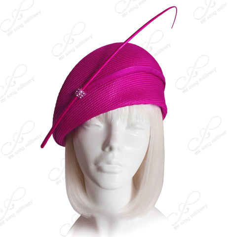Straw-Tagline Structured Beret Cloche Summer Hat With Rhinestone Feather Accent - 5 Colors