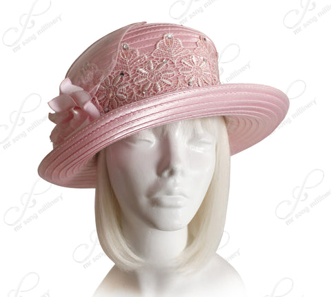 Bucket Cloche Turend-Up BrimHat With Premium Lace - Pink