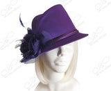 Satin Fedora With Bias Slant Brim Hat Body - Assorted Colors