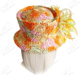 Sinamay Slant Crown Bucket Cloche Hat With Premium Lace - Multi