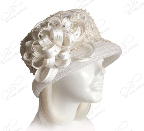 Crin Bucket Cloche Hat With Premium Lace - Ivory