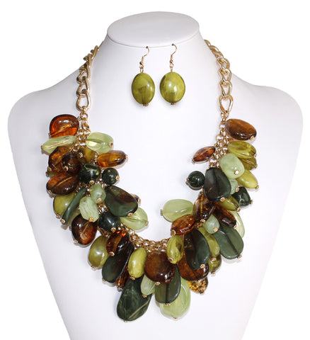 Beaded Necklace & Earrings - 3 Colors