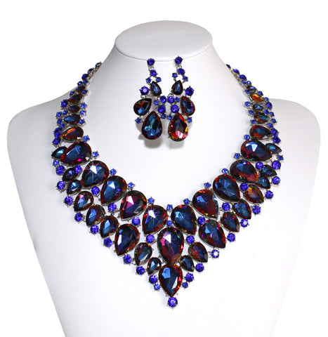 Stacked Rhinestone Jewel Necklace & Earrings - Tanzanite-Purple